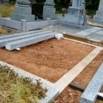 墓石工事です(加賀市上原町墓地にて)